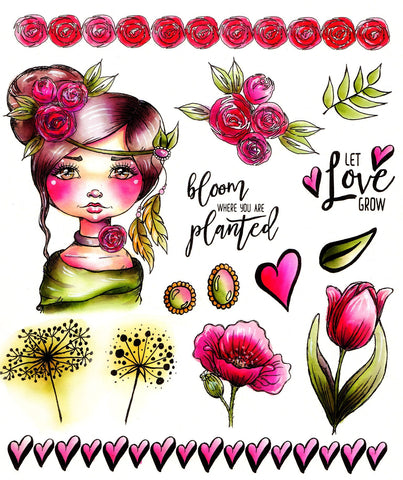 L.D.R.S. Creative -  Cre8tive Cre8tions, Let Love Grow, Stamp set