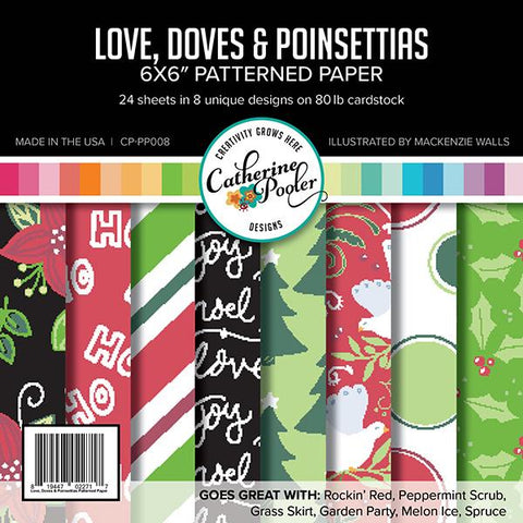 Catherine Pooler Designs - Love, Doves % poinsettia, 6x6 Paper Pad