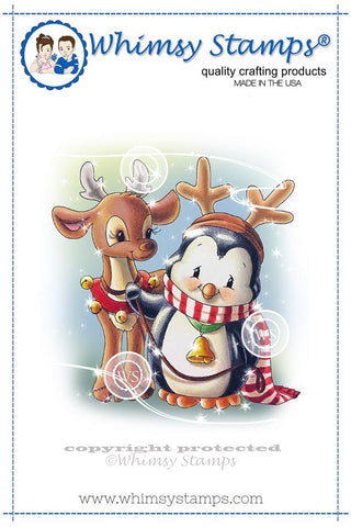 Whimsy Stamps- Rubber Stamp, Penguin and Reindeer Friend