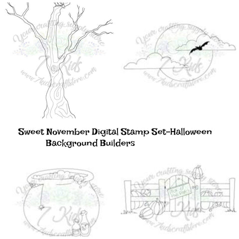 Sweet November Digital Stamp- Halloween Background Builder Set