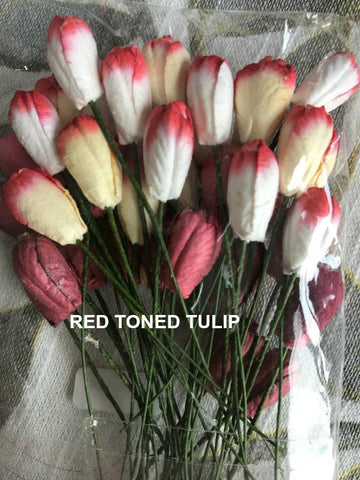 Wild Orchid Crafts Mulberry Paper Mixed -Red Tones Tulip Flowers