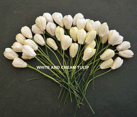 Wild Orchid Crafts Mulberry Paper White,Cream & Yellow Tulip Flowers