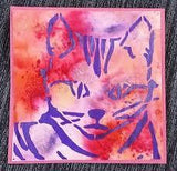 Ken Oliver 6x6 Stencil- Colorful Cat
