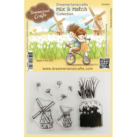 Dreamerland Crafts - Mix and Match Clear Stamps, Flowers & Windmills