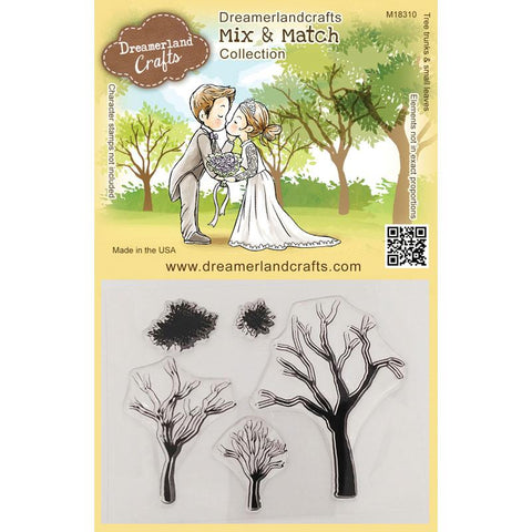 Dreamerland Crafts - Mix and Match Clear Stamp, Tree Trunks & Small Leaves
