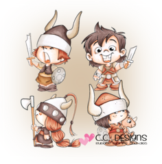 C.C.Designs Swiss Pixie Rubber Stamp-Viking Kids
