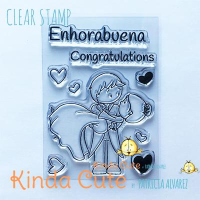 Kinda Cute by Patricia Alvarez-Clear Stamp Bilingual Wedding Couple