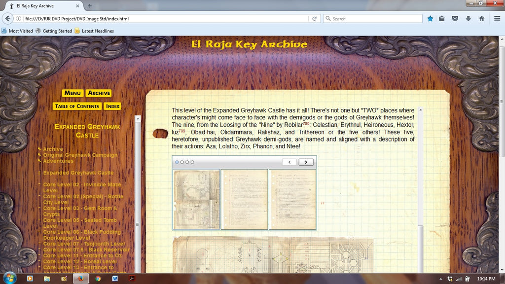 Screen Capture of operating El Raja Key Archive