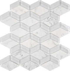 "Interceramic Chelsea Glass  Mosaic 3D Box White 12""x13"""