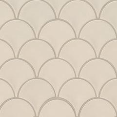 Domino Porcelain Tile Collection  Almond Glossy Fish Scale Mosaic - FloorLife
