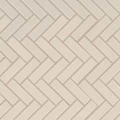 Domino Porcelain Tile Collection Almond Glossy Herringbone Mosaic - FloorLife