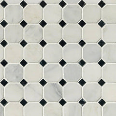"Marble Tile Collection Arabescato Carrara 2"" Octagon With Black And White 5/8""x5/8"" In 12""x12"" Mesh - FloorLife"
