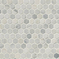 "Marble Tile Collection Arabescato Carrara 1"" Hexagon In 12""x12"" Mesh - FloorLife"