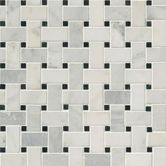 Marble Tile Collection Arabescato Carrara - Black Marble Basket Weave - FloorLife