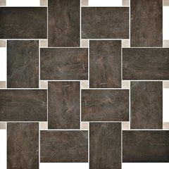 "Paramount Tile Fossil Bruno 12"" x 12"" Semi-Polished Basket Weave Mosaic"