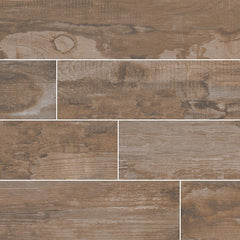 "Salvage Porcelain Tile Collection Brown - 6""x40"" Plank - FloorLife"