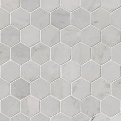 "Marble Tile Collection Carrara White 2"" Hexagon - FloorLife"