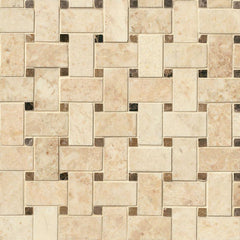 Marble Tile Collection Crema Cappuccino Basketweave Pattern - FloorLife