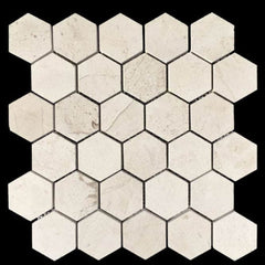 "Realstone Systems Alesio Crème Hexagon Honed Mosaic 2""x2"""