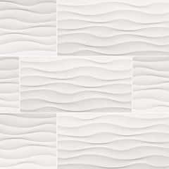 "Dymo Ceramic Tile Collection Wavy White Glossy - 12""X24"" - FloorLife"