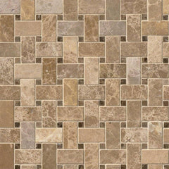 Marble Tile Collection Emperador Light And Emperador Dark Basket Weave Pattern - FloorLife