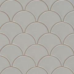 Domino Porcelain Tile Collection Gray Glossy Fish Scale Mosaic - FloorLife
