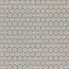 Domino Porcelain Tile Collection  Gray Glossy Penny Round Mosaic - Misc - FloorLife