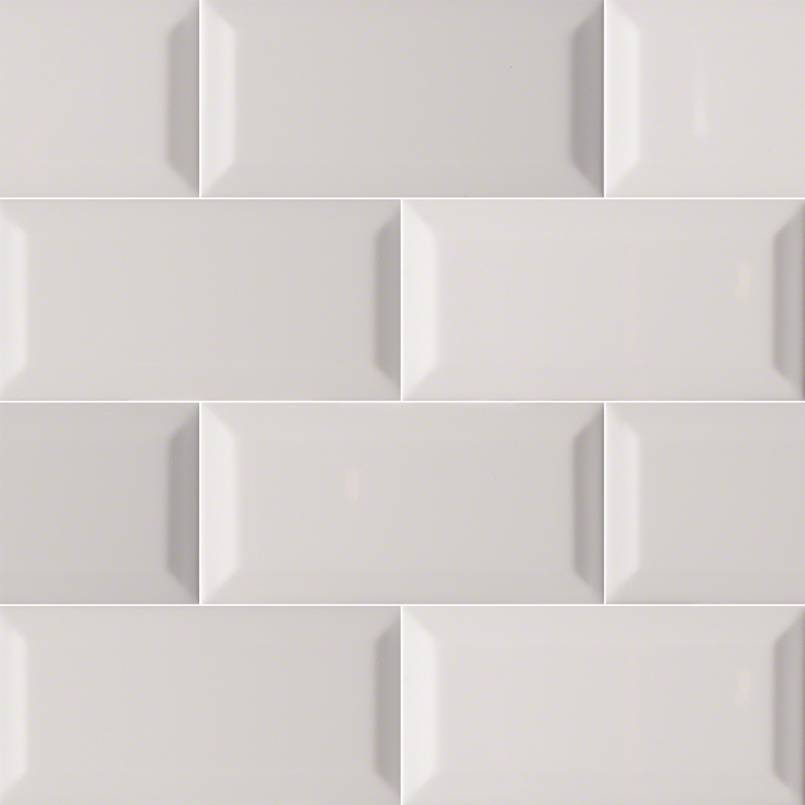 Domino Ceramic Tile Collection Gray Glossy Subway Tile Beveled 3
