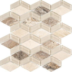 "Interceramic Chelsea Glass  Mosaic 3D Box Beige 12""x13"""