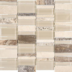 "Interceramic Chelsea Glass Cascade Beige 12""x12"""