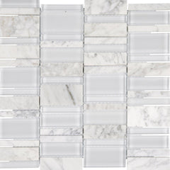 "Interceramic Chelsea Glass Cascade White 12""x12"""