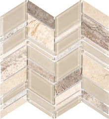 "Interceramic Chelsea Glass Chevron Beige 11""x12"""