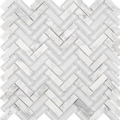 "Interceramic Chelsea Glass Herringbone White 11""x11"""
