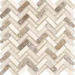 "Interceramic Chelsea Glass Herringbone Beige 11""x11"""