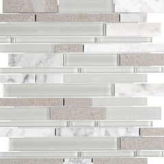"Interceramic Chelsea Glass Linear Gray 11""x11"""