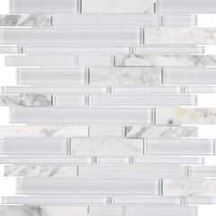 "Interceramic Chelsea Glass Linear White 11""x11"""