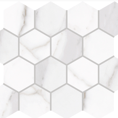 "Interceramic Cortina Rectified Juno White Hexagon Mosaic Matte 13""x11"""