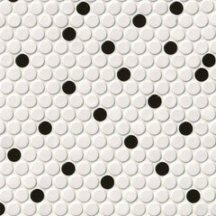 Domino Porcelain Tile Collection White And Black Penny Round - FloorLife
