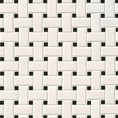 Domino Porcelain Tile Collection White And Black Matte Basket Weave Mosaic - FloorLife