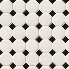 Domino Porcelain Tile Collection White And Black Octagon - FloorLife