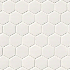 "Domino Porcelain Tile Collection  White Glossy Hexagon Mosaic - 2""x2"""