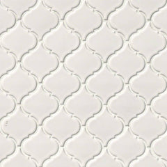"Domino Porcelain Tile Collection White Glossy Arabesque- 11""X10.8"" - FloorLife"