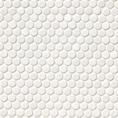 Domino Porcelain Tile Collection  White Glossy Penny Round Mosaic - Misc - FloorLife
