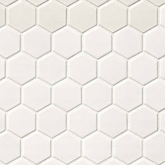 "Domino Porcelain Tile Collection  White Matte Hexagon Mosaic - 2""x2"""