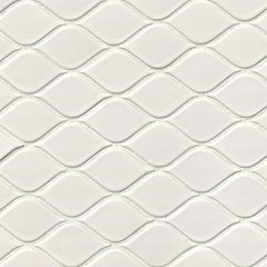 "Domino Porcelain Tile Collection  White Tear Drop Glossy Mosaic - 10.75""x10.37"" - FloorLife"