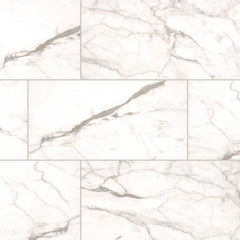 "Essentials Ceramic Tile Collection White Vena - 3""x18"" - Bull Nose - FloorLife"