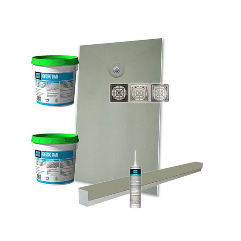 Laticrete Hydro Ban Pre-Sloped Shower Kit - 38in x 66in Off Center PVC