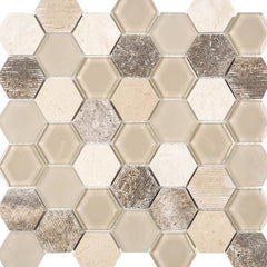 "Interceramic Chelsea Glass Hexagon Beige 11""x11"""
