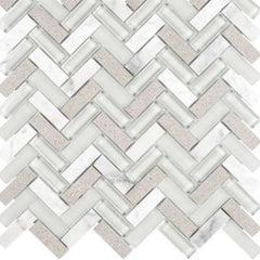 "Interceramic Chelsea Glass Herringbone Gray 11""x11"""
