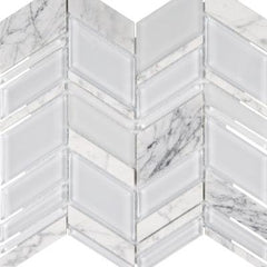 "Interceramic Chelsea Glass Chevron White 11""x12"""
